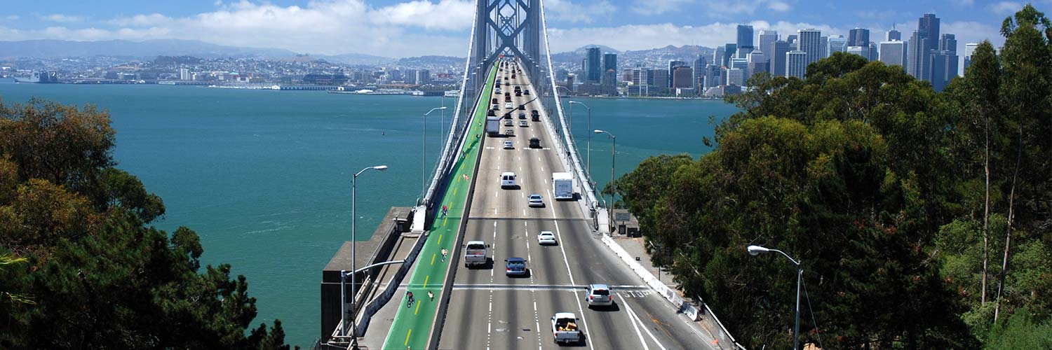Bay Bridge Bike Path | Rendering by Eric Tuvel using photo from Wikimedia Commons